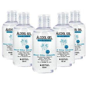 Pacote Com 5 Álcool Gel Etílico Hidratado 70 Inpm Germicida E Bactericida Higiene Pessoal 60ml ArtGel