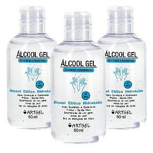 Pacote Com 3 Álcool Gel Etílico Hidratado 70 Inpm Germicida E Bactericida Higiene Pessoal 60ml ArtGel