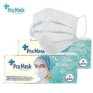 Kit 2 Caixas de 35 Máscara Descartável Pro Mask Tripla Camada Qualidade E Confiabilidade Branca Com Clipe Nasal