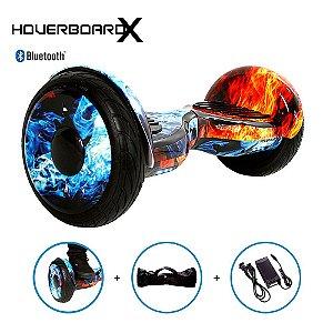 "Hoverboard Skate Elétrico 10"" Fogo e Gelo Barato Bluetooth"