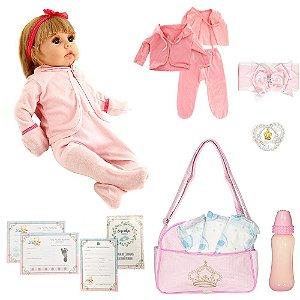 Boneca Bebê Reborn Isadora Loira Mais 16 Acessórios 52cm