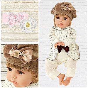 Bebê Reborn Isadora Bambola 01 Loira Cegonha Dolls 24 Itens