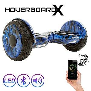 "Hoverboard Skate Elétrico 10"" Fogo Azul Bluetooth com Led"