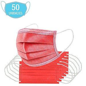 Máscara Vermelha Tripla Camada Cirúrgica Descartável 50Un