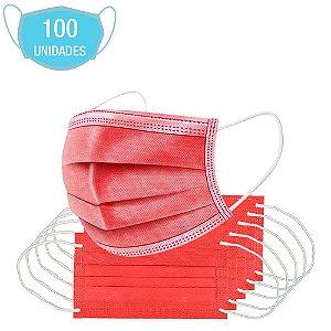 Máscara Vermelha Tripla Camada Cirúrgica Descartável 100Un