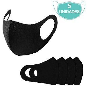 5 Máscaras Laváveis Reutilizável Preta Cuidado Pessoal