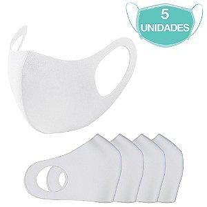 5 Máscaras Laváveis Reutilizável Branca Cuidado Pessoal