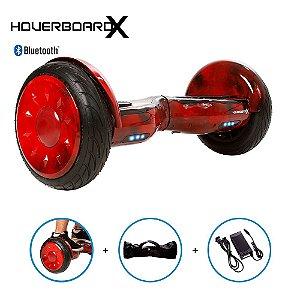 "Hoverboard Skate Elétrico 10"" Red Fire Bluetooth com Bolsa"