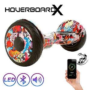 Hoverboardx Skate Elétrico 10 Skull Summer Bluetooth com Led