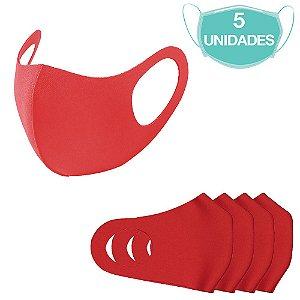 5 Máscaras Laváveis Reutilizável Vermelha Cuidado Pessoal