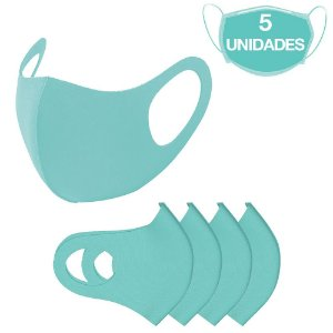 5 Máscaras Laváveis Reutilizável Verde Água Cuidado Pessoal