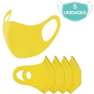 5 Máscaras Laváveis Reutilizável Amarela Cuidado Pessoal