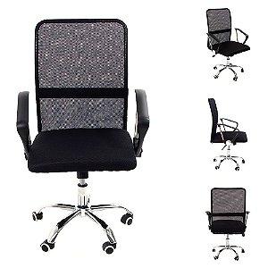 Cadeira para Escritório Giratória Encosto de Malha Preta