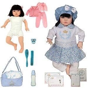 Boneca Bebê Reborn Realista Manuela Rosa Cegonha Dolls