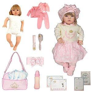Bebê Reborn Luxo Loira Ellen Rosa Cegonha Dolls + Itens