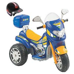 Moto Elétrica Sprint Turbo Azul Brinquedo Infantil 12V