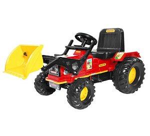 Brinquedo Trator Infantil Farmer Com Pá Vermelho Biemme 302
