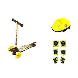 Patinete Infantil para Meninos com Kit de Segurança Amarelo