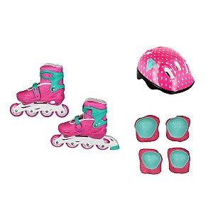 Patins Infantil para Meninas com Kit de Segurança Rosa