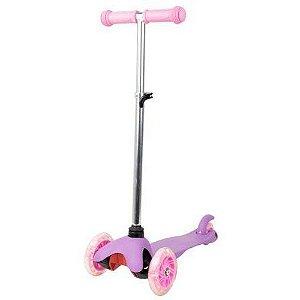 Patinete Infantil de 3 Rodas com Led na Roda Rosa BBR Toys