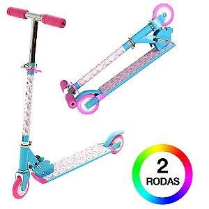 Patinete Infantil Azul e Rosa 2 Rodas Com Led BBR Toys B0004