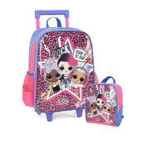 Kit Mochila Infantil Escolar Lol Surprise Rock Com Rodinhas