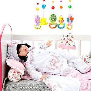 Boneca Bebe Reborn Princesa Rosa Poa Cegonha Reborn Dolls