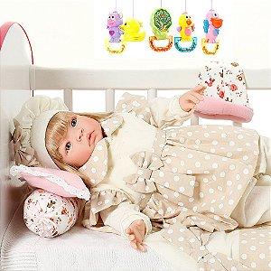 Bebê Reborn de Luxo Loira Balone Caqui Cegonha Dolls