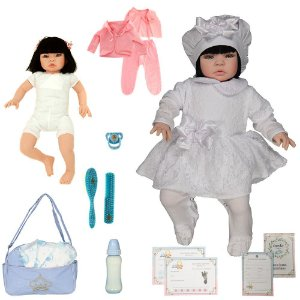 Boneca Bebe Reborn Nara Branco Cegonha Reborn Dolls Mais