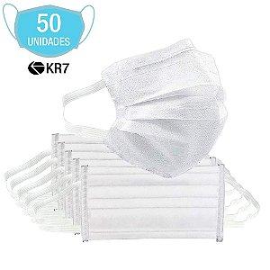 Kit 50 Máscara Descartável KR7 Para Proteção E Higiene De Ro