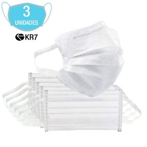 Pacote Com 3 Máscara Descartável Tripla Camada KR7 Máxima Pr
