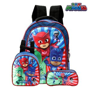 Kit Mochila Escolar Infantil PJ Masks De Costa