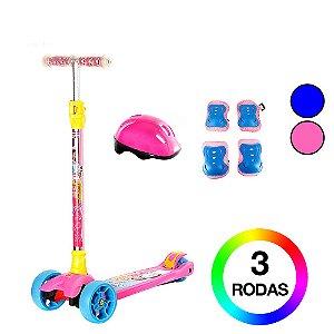 Kit Patinete Sonho de Princesa Rosa e Azul 3 Rodas Dm Toys