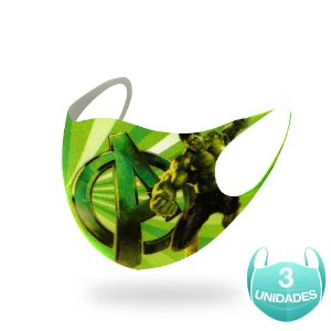 3 Máscaras Lavável Infantil Marvel O Incrível Hulk Neoprene