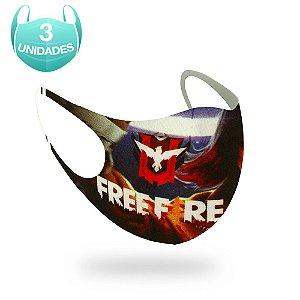 3 Máscaras Lavável Infantil Jogo Garena Free Fire Neoprene