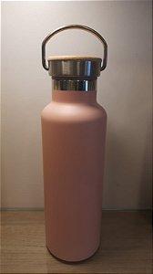 Garrafa Térmica Rosa Tampa Madeira para Sublimação