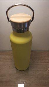 Garrafa Térmica Amarela Tampa Madeira para Sublimação