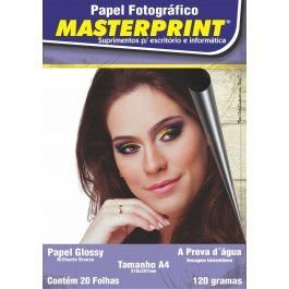 PAPEL FOTO MASTERPRINT 120G A4 20 FOLHAS