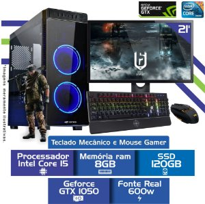 Pc Game i5,Mem 8Gb,Ssd 120Gb,Tela 21,Gtx1050