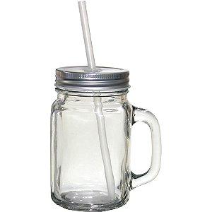 Caneca Mason Jar De Vidro Sublimação 430ml