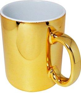 Caneca Porcelana Metalizada Dourada