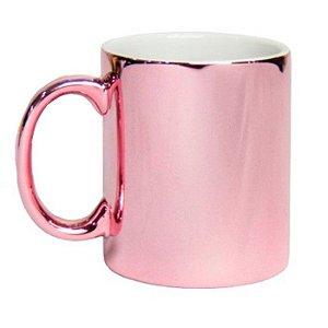Caneca Porcelana Metalizada Rosé