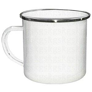 Caneca Esmaltada Branca Gelo C/ Borda Prata