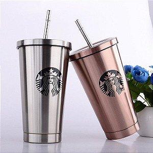 Copo Inox Starbucks para Sublimação - Branco ou Prata - 475ml