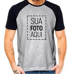Camisa Poliéster Cinza Mescla raglan