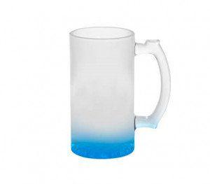 Caneca Chopp Vidro DEgradê Azul Sublimável 475ml