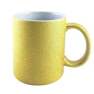 Caneca Glitter Dourada p/ Sublimação