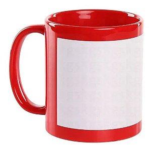 Caneca Vermelha Tarja Branca 325ml