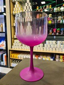 Taça Gin Degradê Cristal com Rosa