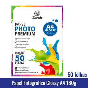 Papel Foto 180 Gramas 50 Folhas - Mundi